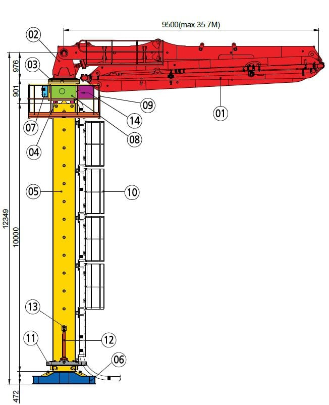36m placing boom diagram