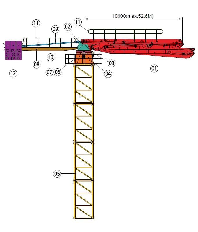 52m placing boom diagram