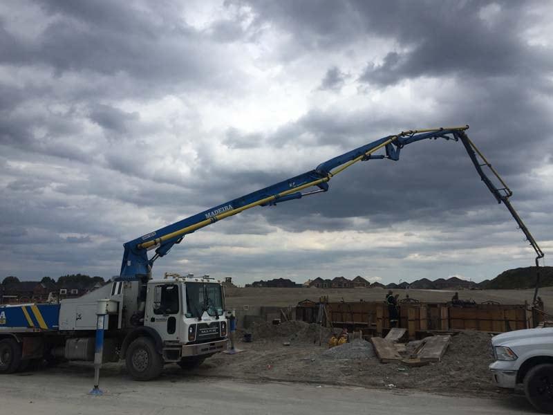 concrete pump at work