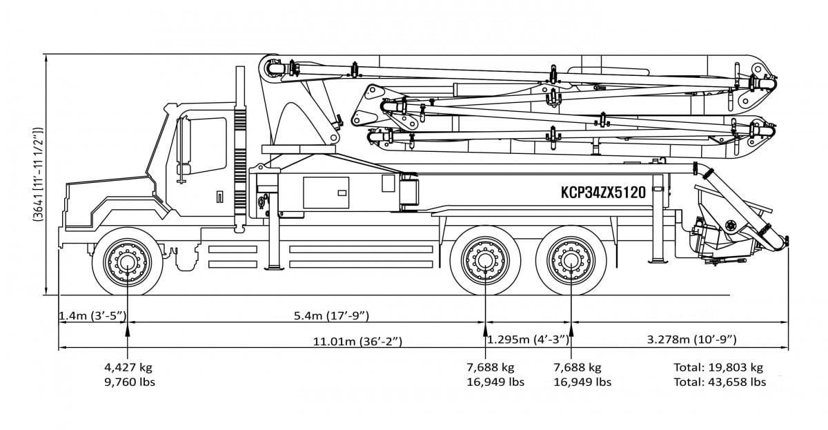 34m concrete pump specs