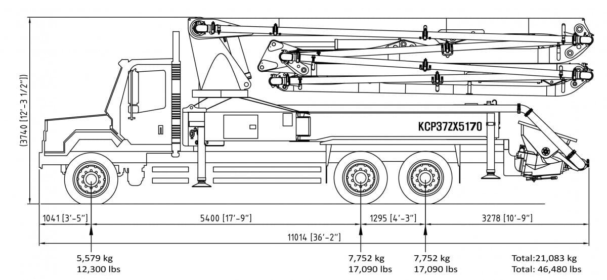 37m 5-section concrete pump