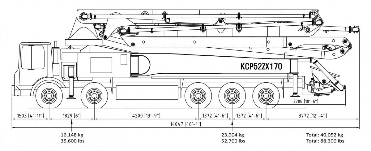 52m concrete pump specs