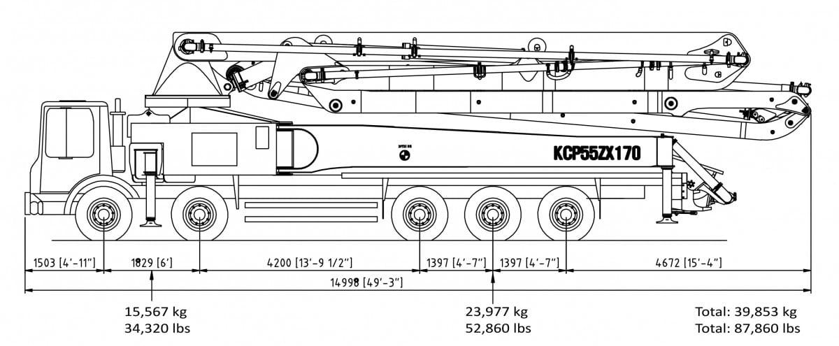 55m concrete pump specs